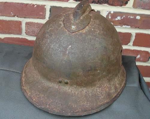 WW2 French Steel Helmet w/ bullet hole and inscription inside
