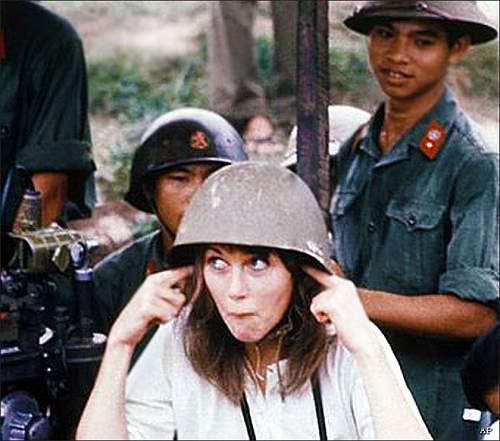 PAVN soldier with helmet badge on steel helmet during the VN war 1972