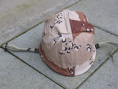 Unusual m1 steel helmet chocolate chip camo cover?