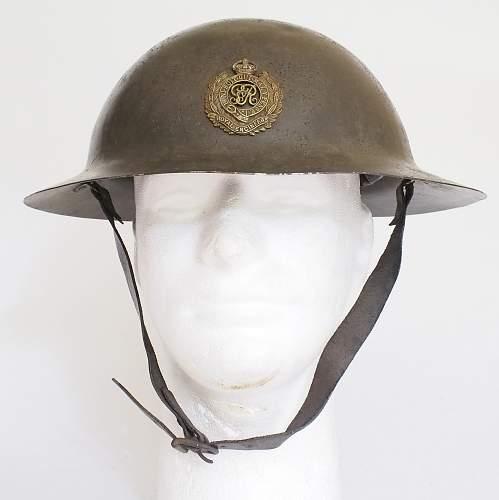 Click image for larger version.  Name:UK Helmet Steel War Office Pattern RE front.jpg Views:153 Size:198.2 KB ID:796428