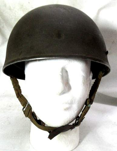 Click image for larger version.  Name:Denmark m46 Converted UK Helmet Steel Airborne Troops MkI front.jpg Views:99 Size:81.4 KB ID:797585