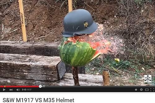 bullet penetration test US M1917 .45 vs repro German M35 from IMA