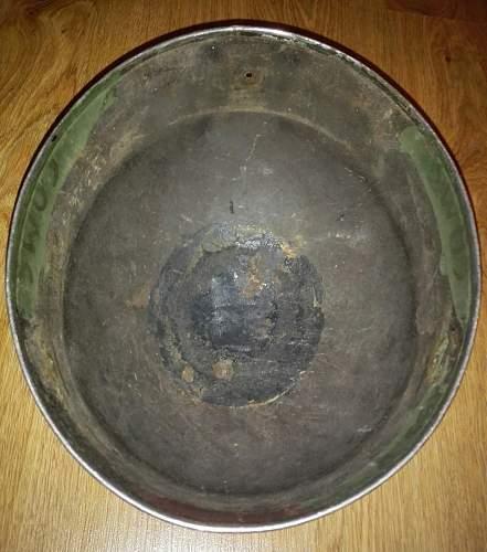 WW2 British Para/ RAC or post war British or Belgian Para/Tank relic helmet?