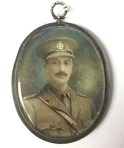 WW1 Miniature portrait of a British Officer