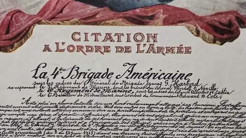 Citation A L'Ordre de  L' Armee   Marine regt