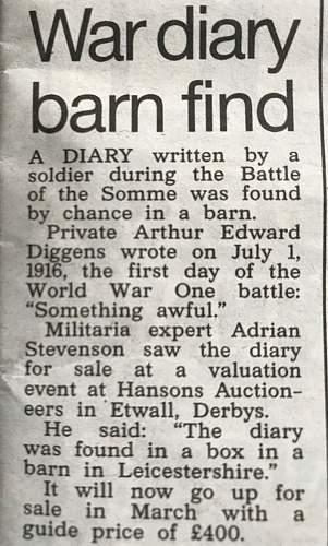 WW1 diary found in barn
