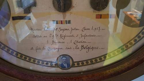 French medals Belgian front. French officer with Belgian helmet.