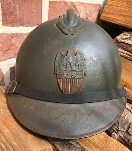 American WW1 adrian helmet with unknown US badge