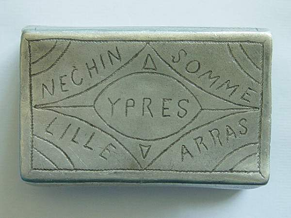 Trench Art matchbox cover