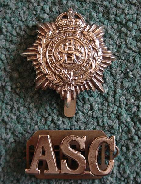 Click image for larger version.  Name:Army Service Corps cap badge and shoulder title..jpg Views:3770 Size:221.8 KB ID:18452