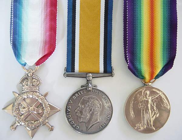 Click image for larger version.  Name:WW1 Medals. 1914-15 Star, War Medal, and Victory Medal..jpg Views:1392 Size:244.8 KB ID:18460