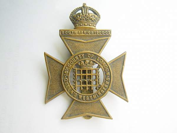 Click image for larger version.  Name:16th (County of London) Battalion Queen's Westminster cap badge.jpg Views:654 Size:129.0 KB ID:18946