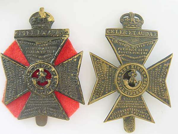 Click image for larger version.  Name:King's Royal Rifle Corps cap badges.jpg Views:1890 Size:152.0 KB ID:18947