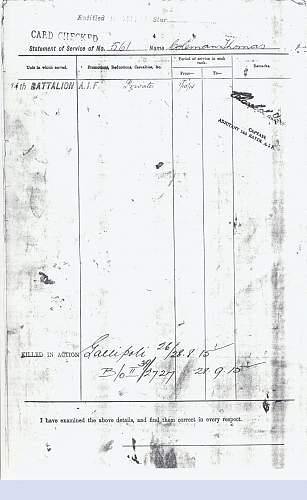 Pte Thomas Barnes Coleman 14th Battalion Australian Imperial Force