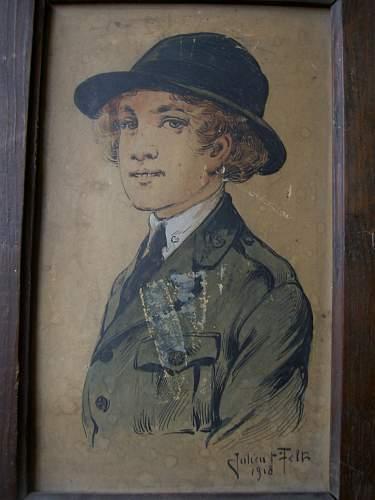 Ww1 usa army nurse original ink drawing with coloured wash , france 1918