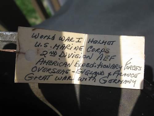 Click image for larger version.  Name:ww1 USMC Helmet 003.jpg Views:241 Size:237.7 KB ID:214136