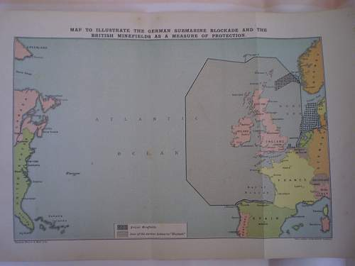 Map to illustrate the german submarine blockade and the British Minefields as a measure of protection