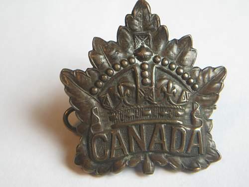 WW1 Canada Cap Badge