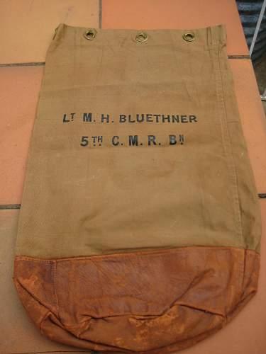Lieut. Martin H Bluethner 5th CMR Cloth Badge & Dog Tags