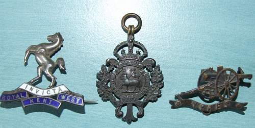 Artillery badge with Ypres on it  plus two sweetheart badges