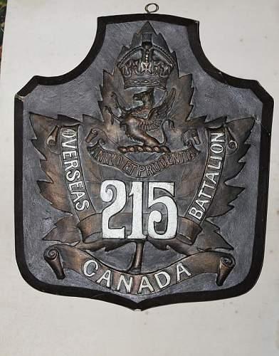215th Canadian Battalion plaque