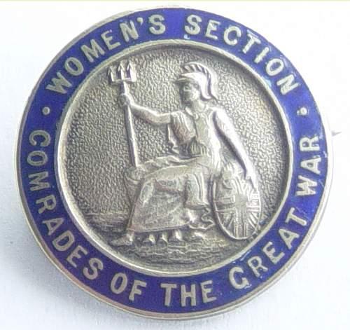 Comrades of the Great War womens section membership badge