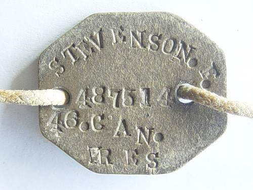 Click image for larger version.  Name:Canadian WW1 identity disk to Frederick Stevenson.jpg Views:146 Size:230.9 KB ID:35632