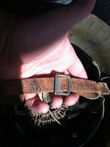 Attributed WWI US Helmet; Soldier's name, division and battles written on chinstrap
