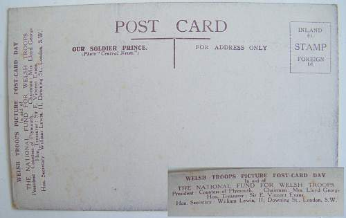 Welsh fund post card