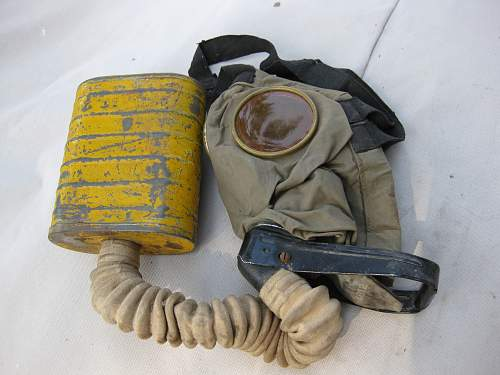 Helmet, gas mask and boots