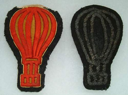 ULTRA RARE BALLOON PILOTS 1872/1912 NCO & OFFICERS insignia