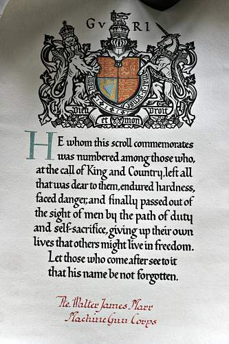Death penny rememberance commemoration scroll