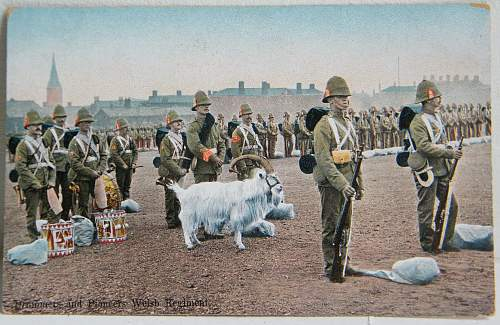 Click image for larger version.  Name:Drummers and Pioneers Welsh Regiment.jpg Views:85 Size:276.2 KB ID:571530