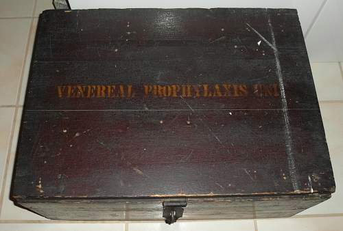 """WW1 Solid Wood Chest """"Venereal Prophylaxis Unit"""""""