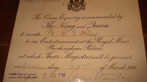 1916 Wounded Canadian Soldiers Invite to the Palace