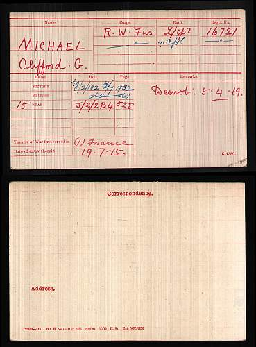 Click image for larger version.  Name:BritishArmyWWIMedalRollsIndexCards1914-1920ForMichaelCliffordG.jpg Views:77 Size:205.4 KB ID:603380