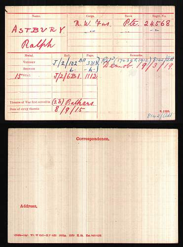 Click image for larger version.  Name:BritishArmyWWIMedalRollsIndexCards1914-1920ForAstburyRalph.jpg Views:60 Size:195.8 KB ID:610096