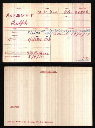Click image for larger version.  Name:BritishArmyWWIMedalRollsIndexCards1914-1920ForAstburyRalph.jpg Views:88 Size:195.8 KB ID:610096