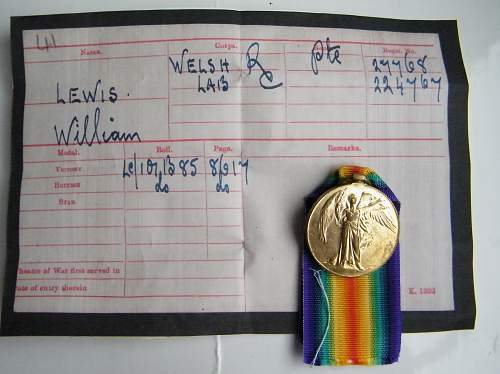 Welsh regiment Victory medal