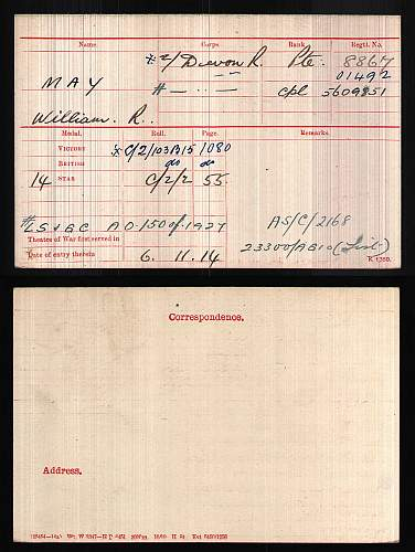 Click image for larger version.  Name:BritishArmyWWIMedalRollsIndexCards1914-1920ForMayWilliamR.jpg Views:75 Size:217.2 KB ID:618282