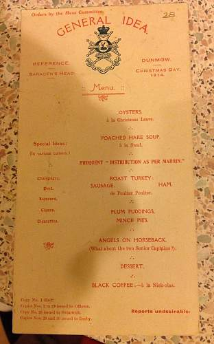 1914 Christmas menu