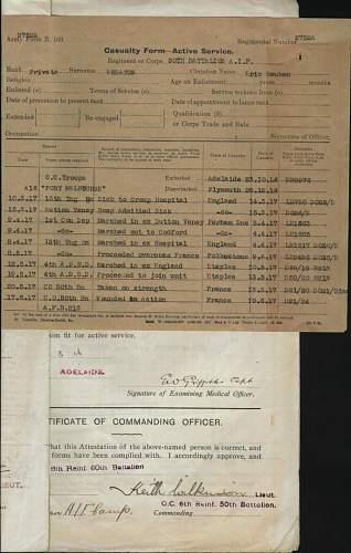 WW1 AIF memorial scroll