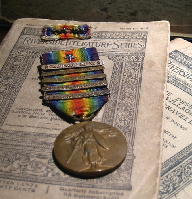 WW I Victory Medal W/Citation Star and Five Clasps, Ribbon Bar With