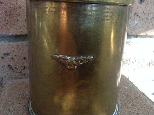 Anchor marked 18 pounder tobacco jar with eagle