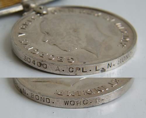 Click image for larger version.  Name:L N Bond Worcs regiment war medal.jpg Views:23 Size:227.4 KB ID:726670