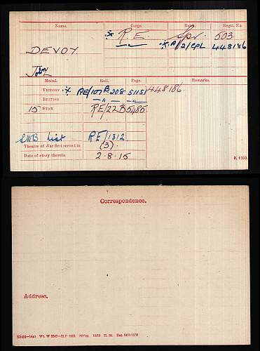 Acting 2nd Corporal John L Devoy 503/4481 Royal Engineers