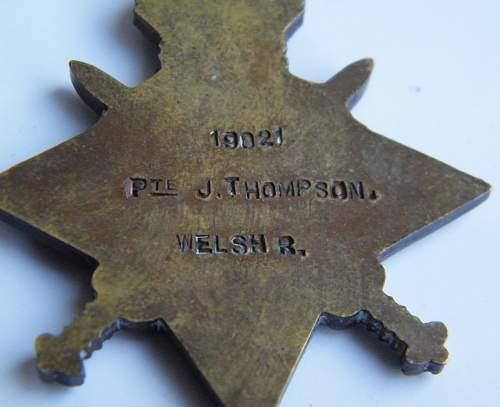 John Thompson, Pte #19021 13th (2nd Rhondda) Bn Welsh Regiment 14/15 star