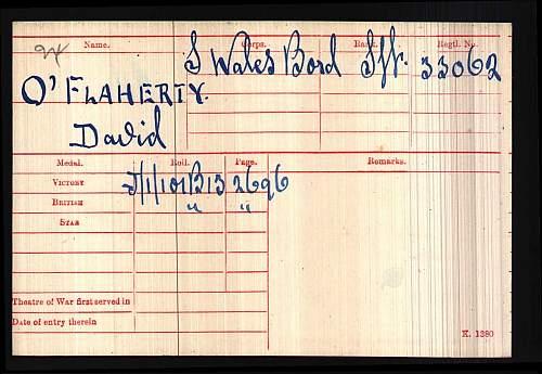 Sjt. David O'Flaherty South Wales Bords split pair, vm only