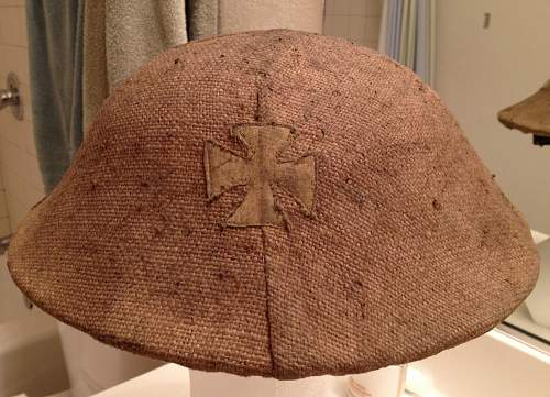 New Helmet with original sandbag cover and unit flashes