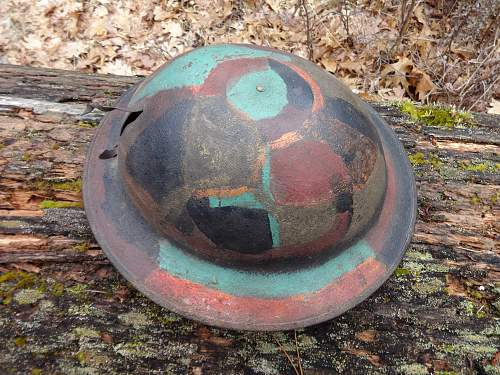 WW1 doughboy helmet with paint. Camo or not?